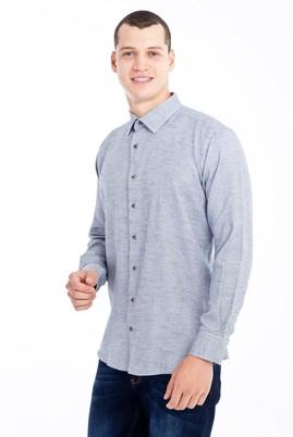 Erkek Giyim - Lacivert XXL Beden Uzun Kol Desenli Flanel Gömlek