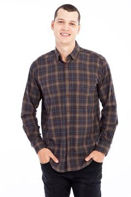 Erkek Giyim - Kahve 3X Beden Uzun Kol Ekose Flanel Gömlek