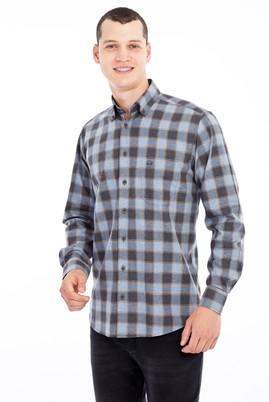 Erkek Giyim - Açık Gri M Beden Uzun Kol Ekose Flanel Gömlek