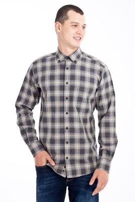 Erkek Giyim - Açık Gri 4X Beden Uzun Kol Ekose Flanel Gömlek