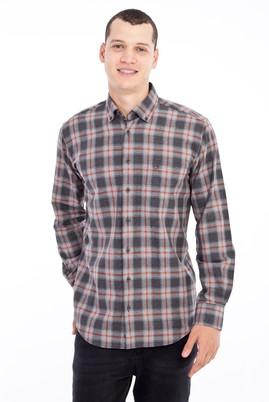 Erkek Giyim - Açık Gri L Beden Uzun Kol Ekose Flanel Gömlek