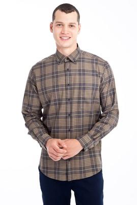 Erkek Giyim - Açık Kahve - Camel L Beden Uzun Kol Ekose Flanel Gömlek