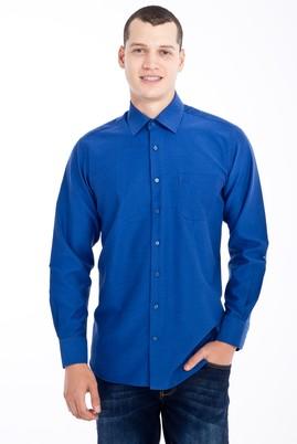 Erkek Giyim - Lacivert L Beden Uzun Kol Desenli Klasik Gömlek