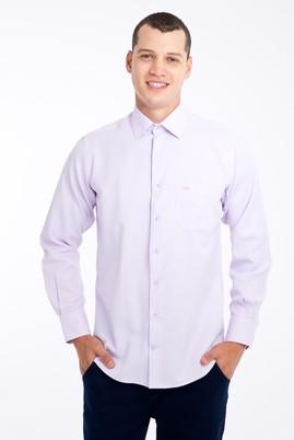 Erkek Giyim - Lila 3X Beden Uzun Kol Desenli Klasik Gömlek