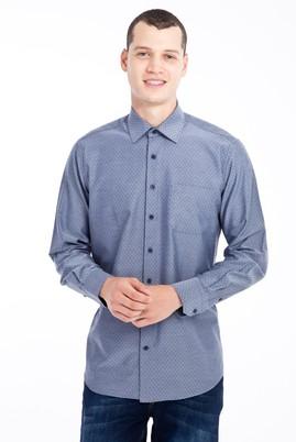 Erkek Giyim - Lacivert M Beden Uzun Kol Desenli Klasik Gömlek
