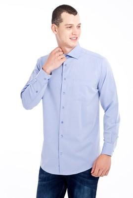 Erkek Giyim - Mavi 4X Beden Uzun Kol Desenli Klasik Gömlek