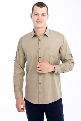 Erkek Giyim - VİZON 3X Beden Uzun Kol Desenli Spor Gömlek