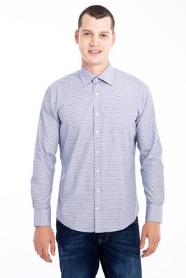 Erkek Giyim - Mavi L Beden Uzun Kol Desenli Slim Fit Gömlek