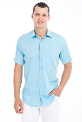 Erkek Giyim - Turkuaz XXL Beden Kısa Kol Desenli Klasik Gömlek