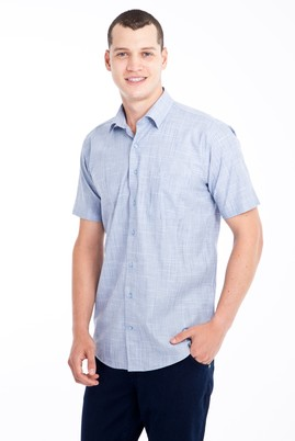 Erkek Giyim - Mavi 3X Beden Kısa Kol Desenli Klasik Gömlek