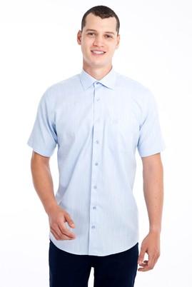Erkek Giyim - Açık Mavi 3X Beden Kısa Kol Desenli Klasik Gömlek
