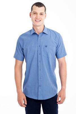 Erkek Giyim - Lacivert L Beden Kısa Kol Desenli Klasik Gömlek