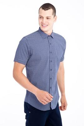 Erkek Giyim - Lacivert M Beden Kısa Kol Desenli Slim Fit Gömlek