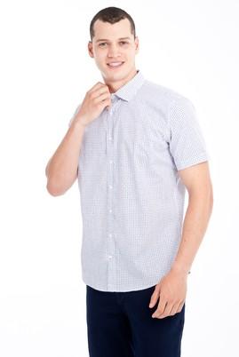 Erkek Giyim - Beyaz L Beden Kısa Kol Desenli Slim Fit Gömlek