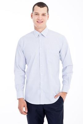 Erkek Giyim - Lacivert XL Beden Uzun Kol Çizgili Klasik Gömlek