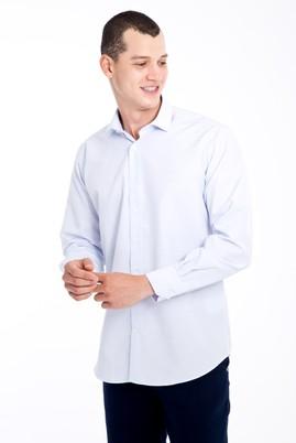 Erkek Giyim - Beyaz 3X Beden Uzun Kol Desenli Spor Gömlek
