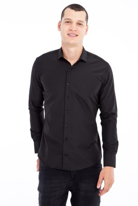 Erkek Giyim - Siyah M Beden Uzun Kol Desenli Slim Fit Gömlek
