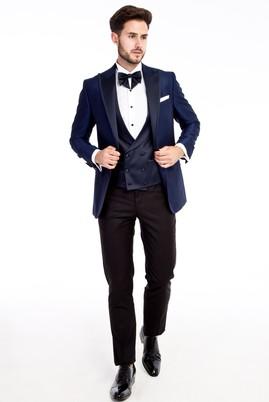 Erkek Giyim - Mavi 46 Beden Sivri Yaka Desenli Smokin / Damatlık