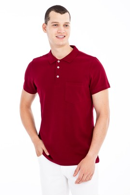 Erkek Giyim - Bordo XL Beden Polo Yaka Regular Fit Tişört