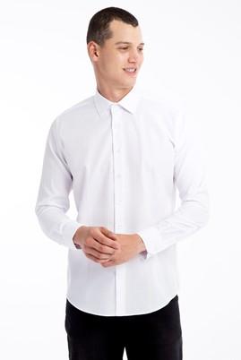Erkek Giyim - Beyaz XL Beden Uzun Kol Desenli Gömlek