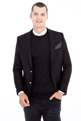 Erkek Giyim - Siyah 50 Beden Kuşgözü Blazer Ceket