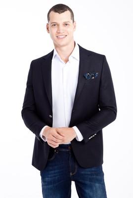 Erkek Giyim - Lacivert 48 Beden Kuşgözü Blazer Ceket