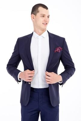 Erkek Giyim - Lacivert 50 Beden Yünlü Blazer Ceket