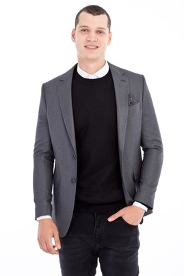 Erkek Giyim - Orta füme 46 Beden Kuşgözü Ceket