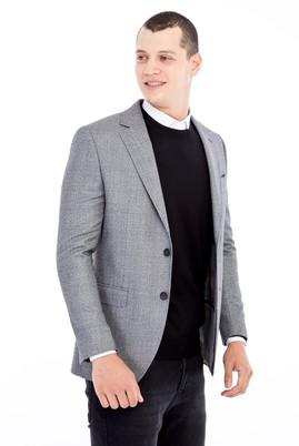 Erkek Giyim - AÇIK GRİ 48 Beden Slim Fit Ekose Ceket