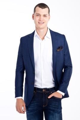 Erkek Giyim - Mavi 46 Beden Regular Fit Ekose Ceket