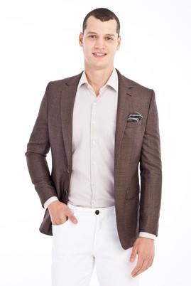 Erkek Giyim - Kahve 50 Beden Ekose Ceket