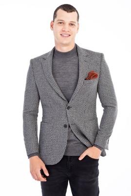 Erkek Giyim - Orta füme 54 Beden Slim Fit Desenli Ceket