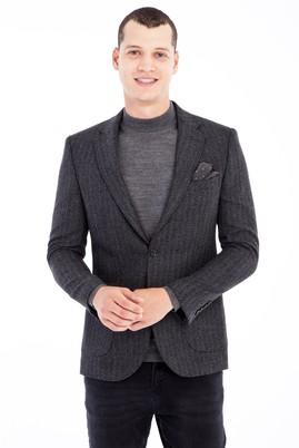 Erkek Giyim - Füme Gri 58 Beden Regular Fit Yünlü Desenli Ceket