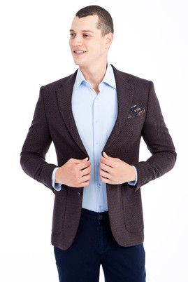 Erkek Giyim - KOYU KAHVE 48 Beden Yünlü Desenli Ceket