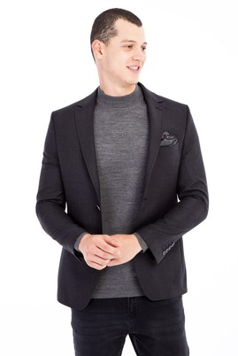 Erkek Giyim - Antrasit 48 Beden Slim Fit Kuşgözü Ceket