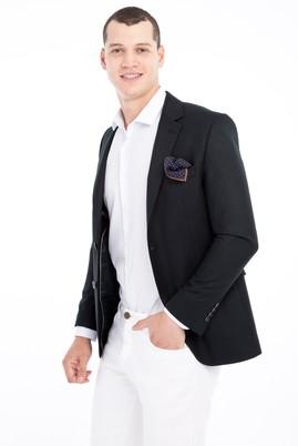 Erkek Giyim - KOYU YESİL 46 Beden Slim Fit Kuşgözü Ceket