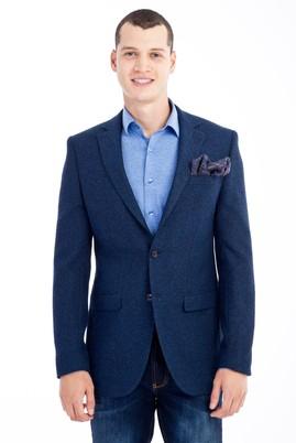 Erkek Giyim - Mavi 50 Beden Desenli Ceket