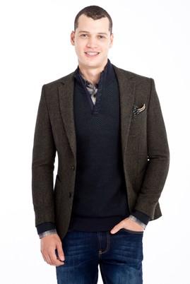 Erkek Giyim - KOYU YESİL 50 Beden Slim Fit Desenli Ceket