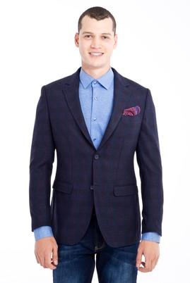 Erkek Giyim - Lacivert 48 Beden Regular Fit Yünlü Ekose Ceket