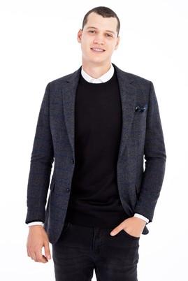 Erkek Giyim - Füme Gri 48 Beden Ekose Ceket