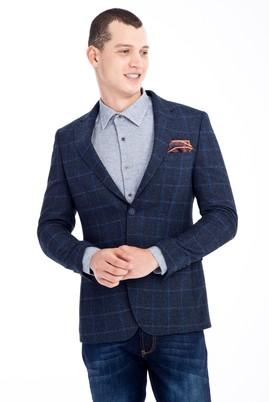 Erkek Giyim - Lacivert 50 Beden Kareli Ceket