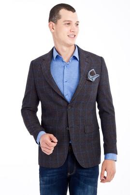 Erkek Giyim - Kahve 50 Beden Regular Fit Kareli Ceket