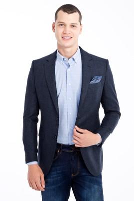 Erkek Giyim - Petrol 50 Beden Yünlü Kuşgözü Ceket