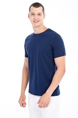 Erkek Giyim - Lacivert XXL Beden Bisiklet Yaka Slim Fit Tişört