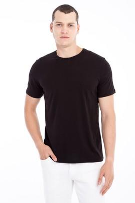 Erkek Giyim - Siyah M Beden Bisiklet Yaka Slim Fit Tişört