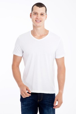 Erkek Giyim - Beyaz 3X Beden V Yaka Slim Fit Tişört