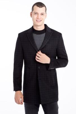 Erkek Giyim - Siyah 52 Beden Ekose Kaban