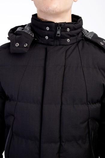 Erkek Siyah Kapüşonlu Bonded Mont | 9K5DZ0K011048 - Kiğılı