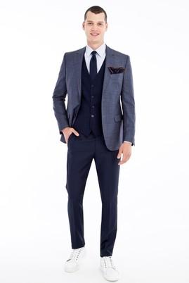 Erkek Giyim - Açık Mavi 50 Beden Slim Fit Yelekli Kombinli Takım Elbise