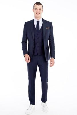 Erkek Giyim - Lacivert 44 Beden Slim Fit Yelekli Kombinli Takım Elbise